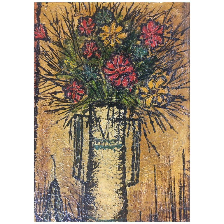 Mid-Century Modern Bouquet of Flowers in the Style of Bernard Buffet, Signed For Sale
