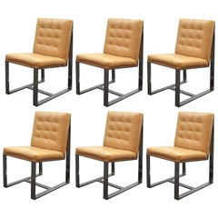Milo Baughman Mid-Century Modern Cantilevered Chrome Dining Chairs