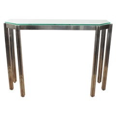Alessandro Albrizzi Chrome Wall Console with Glass Top