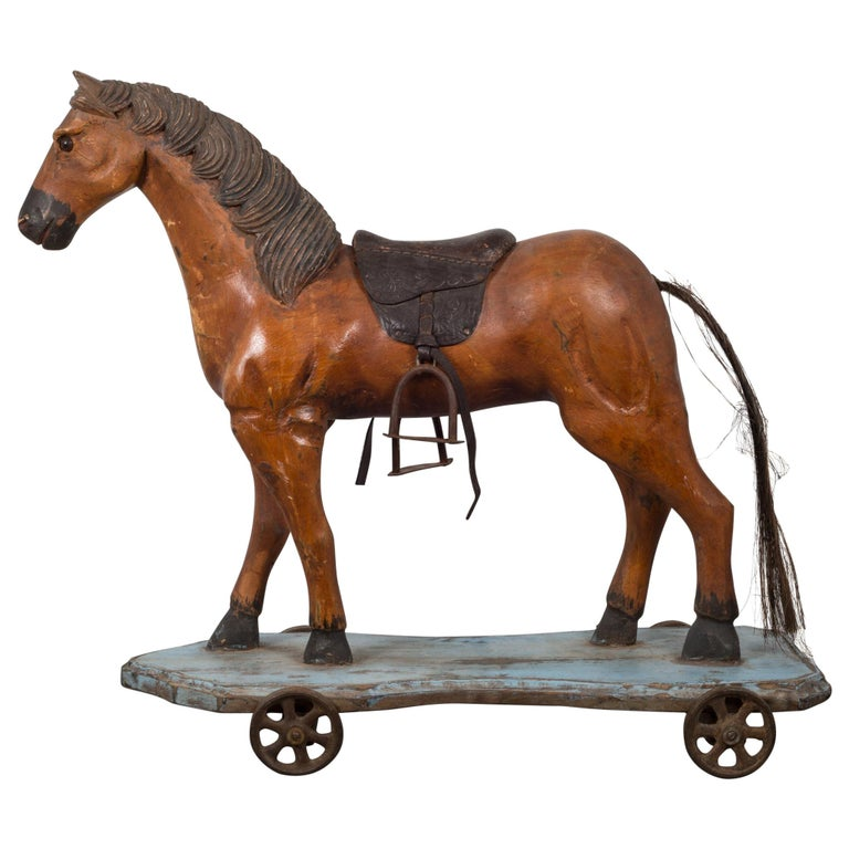 Handmade Horse Pull Toy, circa 1950 For Sale