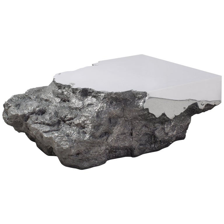 Synthesis Monolith Coffee Table No.2 Polished Stainless Steel For Sale