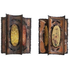 2 Brutalist Sconces by Maison Accolay