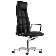 Lead Executive Swivel Black Leather Armchair