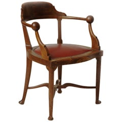 Iconic Karoly Lingel Solid Oak Two Spheres Armchair, Hungary, 1900s