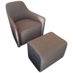 Foster Swivel Leather and Fabric Armchair with Low Back and Ottoman