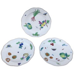 Three Antique European Naturalistic Porcelain Plates