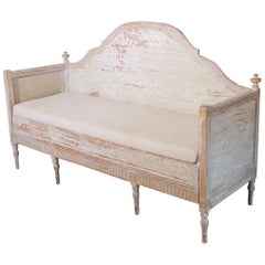 19th Century Swedish Gustavian Period Trundle Bed Sofa in Original Paint