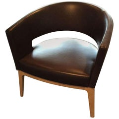 Brown Leather Oak Base Turner Armchair