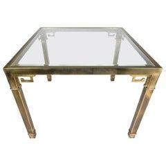 Hollywood Regency Mastercraft Brass Geek Key Game Room Table
