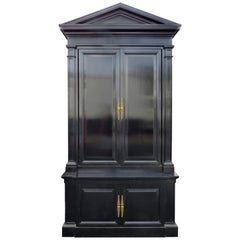 Monumental Black Lacquered Tall Cabinet with Pediment Top