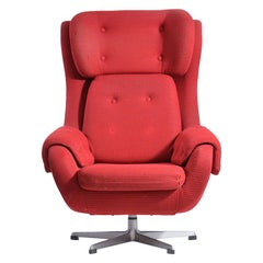 Brussel Era Swivel Wing Chair, Czechoslovakia, circa 1960