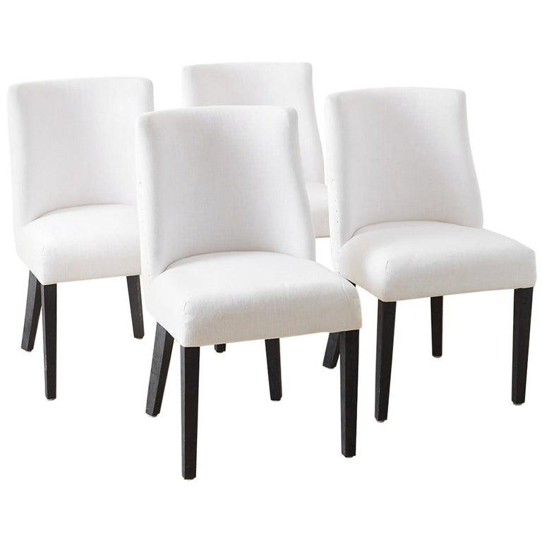 Set of Four French Barrel Back Style Dining Chairs For Sale
