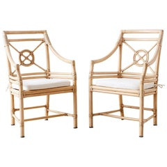 Pair of McGuire Rattan Target Design Lounge Chairs