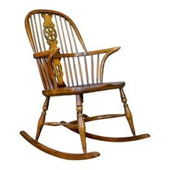 Antique Rocking Chair, English, Edwardian, Windsor Stick Back, Elbow, circa 1910