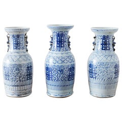 Assembled Set of Three Chinese Blue and White Vases