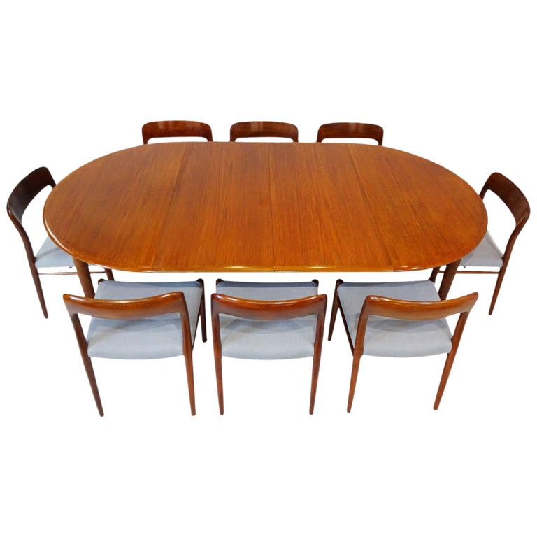 Dining Set - Danish Midcentury Teak table and 8 chairs by Niels Otto Moller For Sale