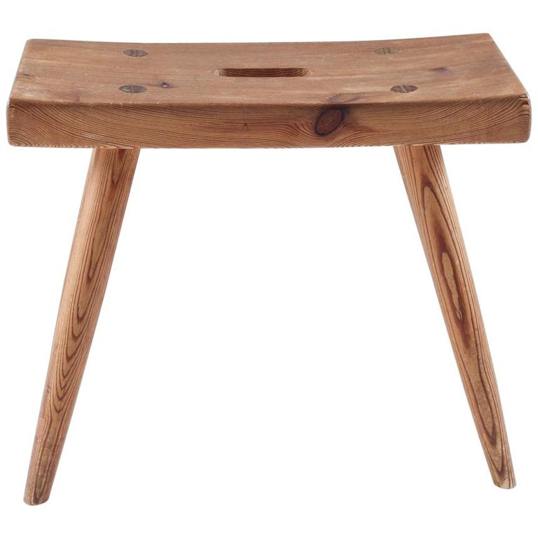 Swedish Stool in Pine, 1940s For Sale
