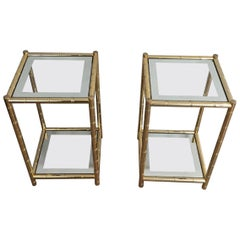 Pair of Gold Gild Side Tables, French, circa 1970