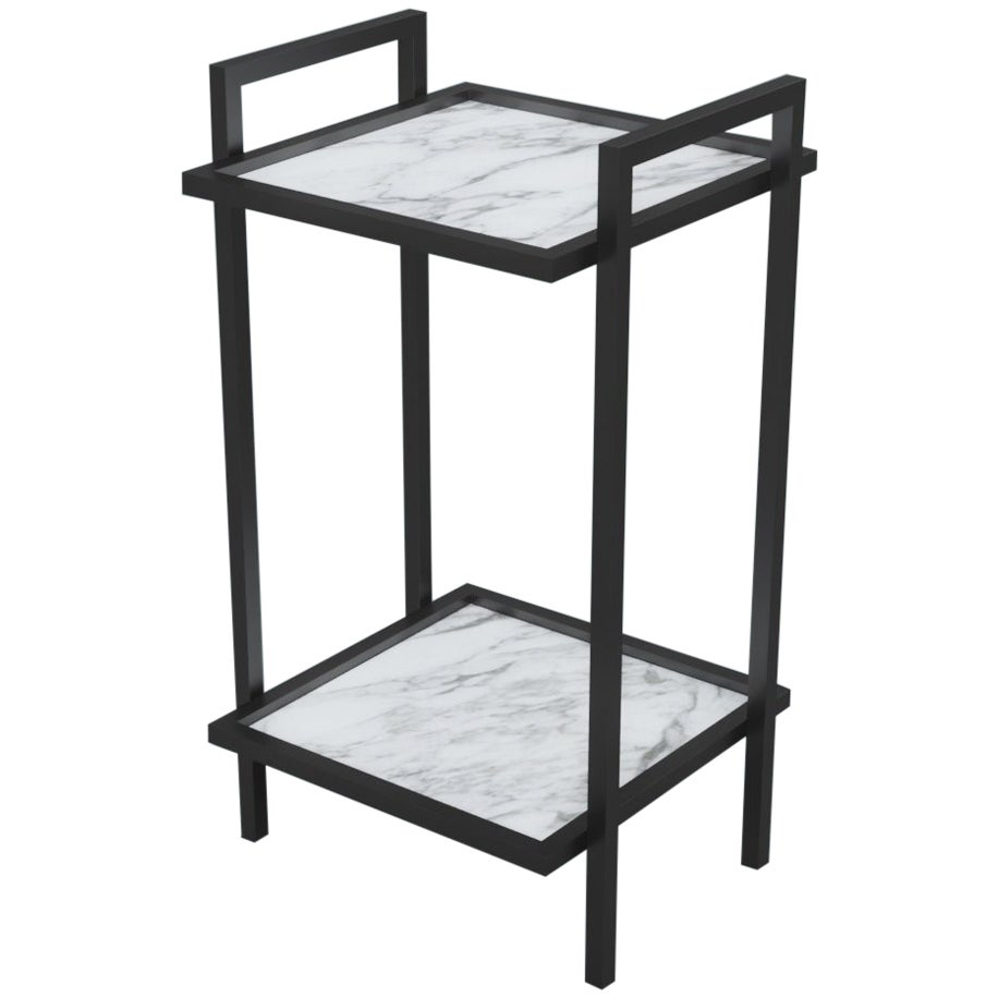Bacco Console Side Table in Steel with Marble Surface