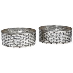 Hand-Worked Solid Silver Wine Coasters, Bamboo Motif, Tableware