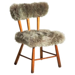 Chair with Lamb Wool, Danish Architect, Attributed to Philip Arctander, 1960s