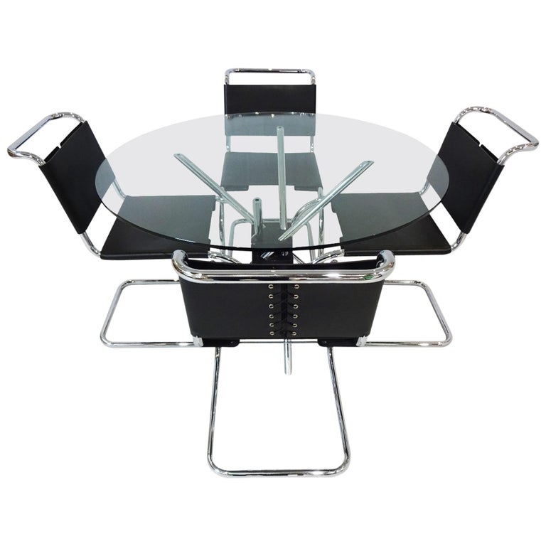 Dining set - Knoll International Mies Van Der Rohe Mr10 Chairs and Mz59 Table For Sale