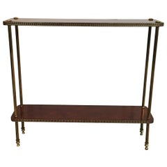 Low Neoclassical Mahogany and Brass Shelf, French, circa 1940