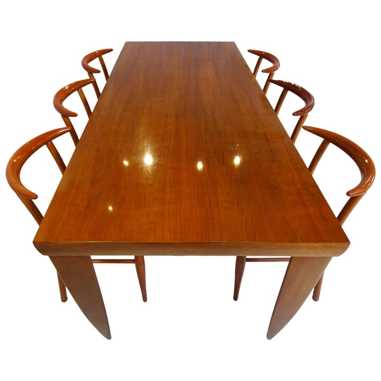 Dining Set  - Cherrywood Incorporating 6 Philippe Starck Tessa Nature Chairs For Sale