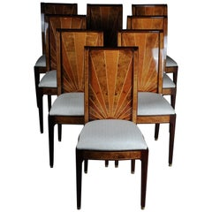 Set of 8 Old Chairs in Art Deco Design