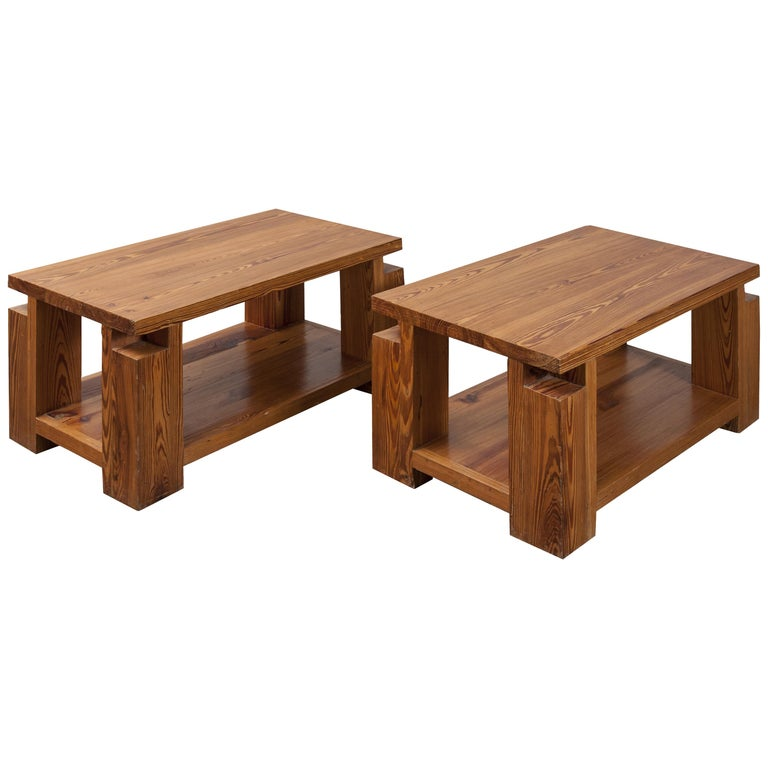 "Pair of ""Chalet"" Wood Tables For Sale"