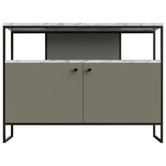 Eros TV Console in Steel Frame Leather Doors and Marble Surface