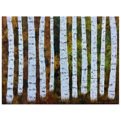 Birch Symphony Liora Textured Large Trees Abstract Canvas Contemporary Painting