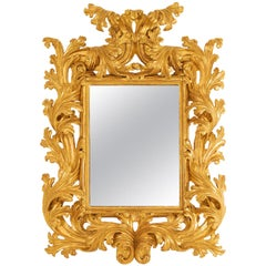 Large Gilt and Carved Wood Rococo Mirror, Early 18th Century
