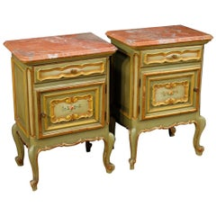 20th Century Green Painted and Giltwood with Marble-Top Italian Bedside Tables