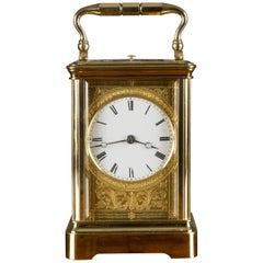 French Brass Cased Carriage Clock by Drocourt