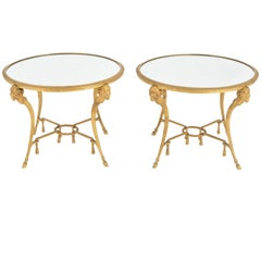 Pair of Directoire Style End Tables in Gilt Bronze, circa 1940