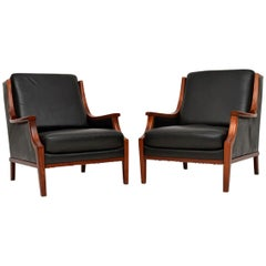 1970s Pair of Danish Vintage Leather Armchairs