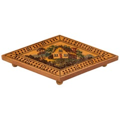 Antique Sycamore Tunbridge Ware Cribbage Board, Early 19th Century
