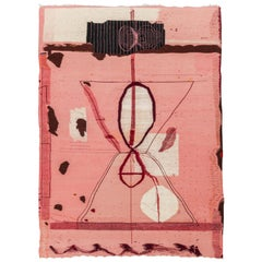 Pink Flat-Weave Wool Tapestry / Carpet 'Do Not Attempt to Break the Seal'