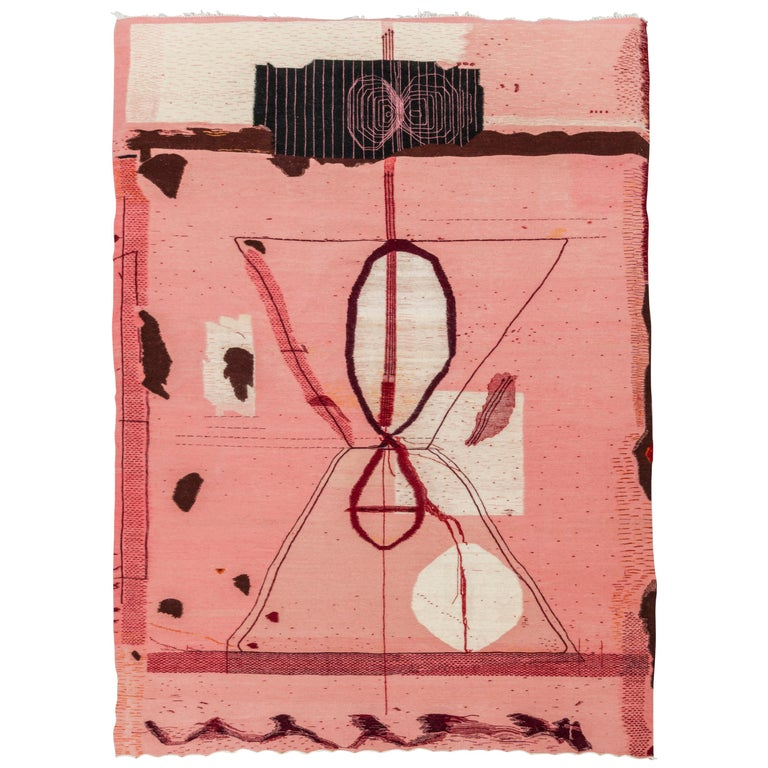 Pink Flat-Weave Wool Tapestry / Carpet 'Do Not Attempt to Break the Seal' For Sale