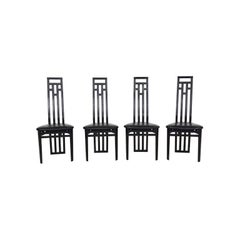 Set of 4 Sculptural Italian Modern Black Leather Dining Chairs by A. Sibau