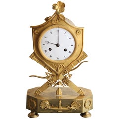 Gilt Bronze Empire Clock Decorated with Butterflies