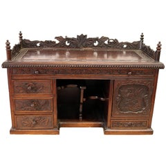 Hardwood Chinese Gothic Dark Carved Wood Chest Cabinet, circa 1800s