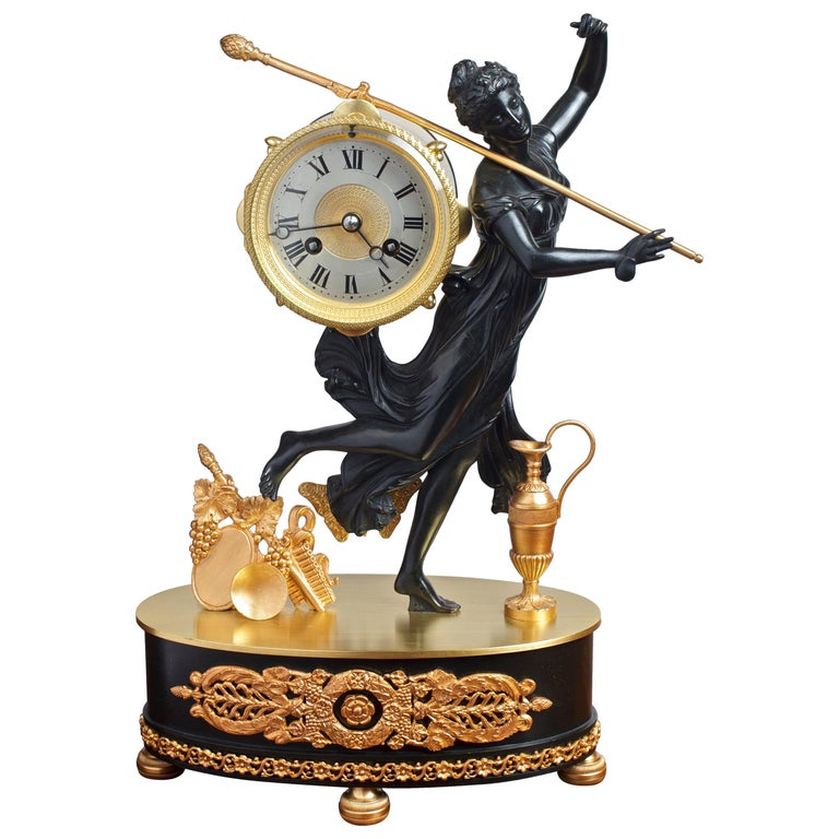 French Bronze and Ormolu Mantel Clock For Sale