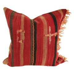 Custom Pillow Cut from a Vintage Moroccan Wool Berber Rug, Atlas Mountains