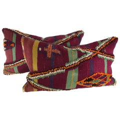 Pair of Custom Pillows Cut from a Vintage Moroccan Wool Berber Rug