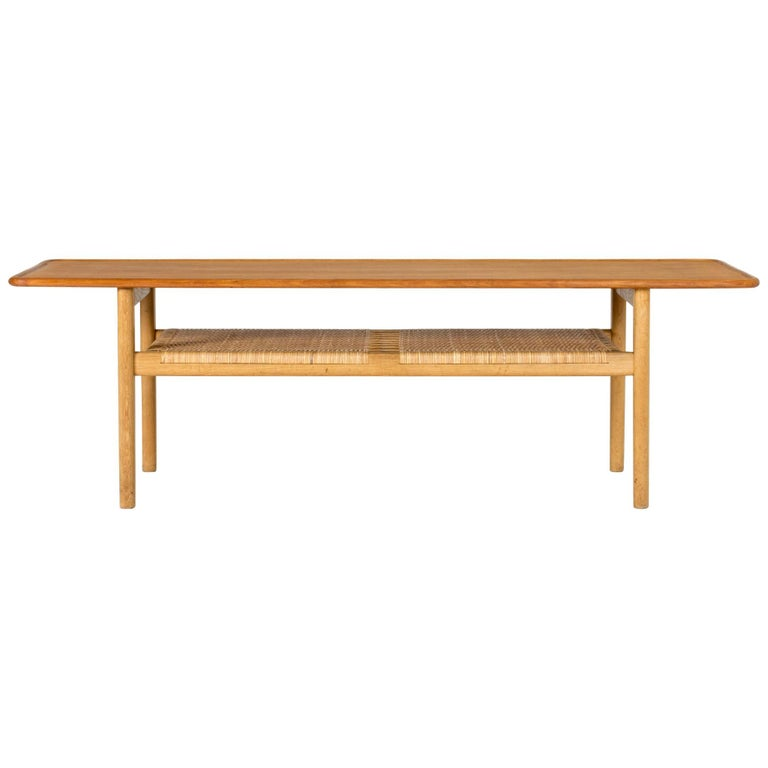 Midcentury Teak and Rattan Coffee Table by Hans J. Wegner For Sale