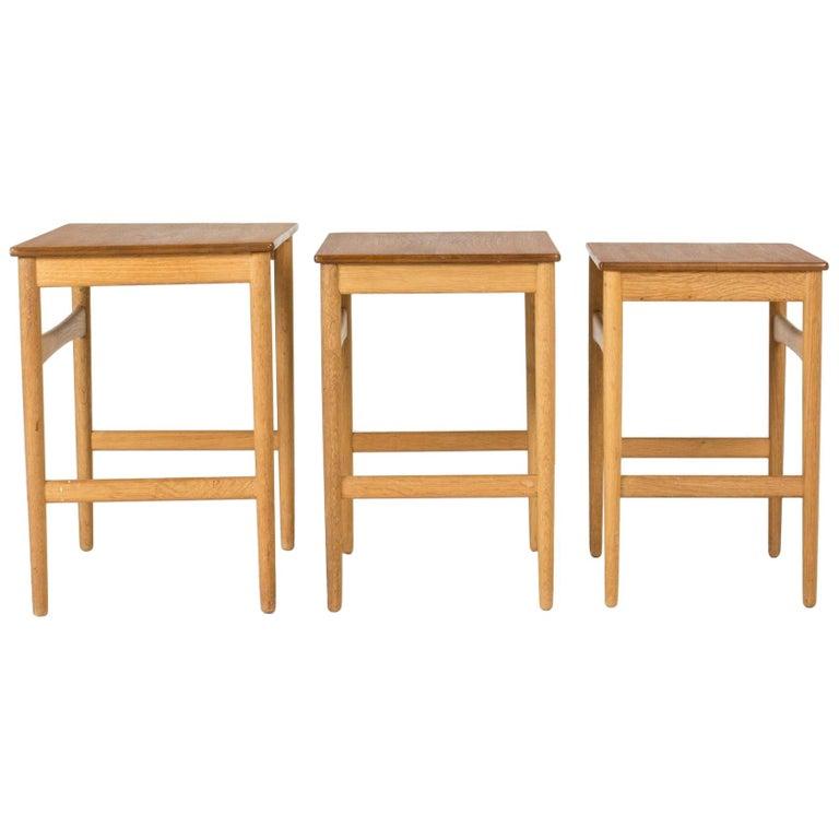 Set of Midcentury Nesting Tables by Hans J. Wegner For Sale