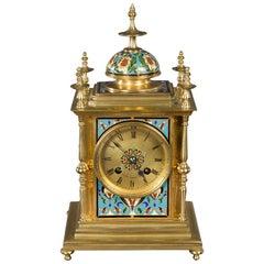 Gilt Brass and Champleve Enamel Mantel Clock