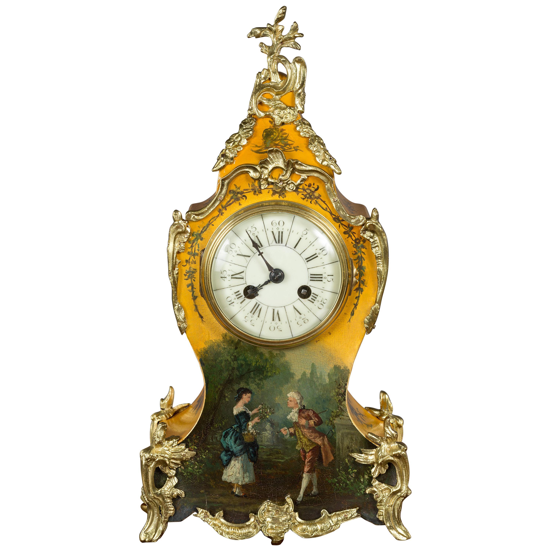 French Vernis Martin Mantel Clock by Vincenti, Paris